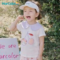 马卡乐童装2021夏季新款女童宝宝娃娃翻领可爱印花短袖T恤