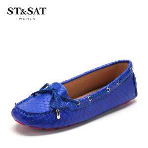 【3折到手价110.7元】星期六(ST&SAT) 牛皮革/羊皮革平跟圆头休闲单鞋豆豆鞋SS53115881