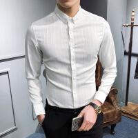 衬衫男学生时尚条纹衬衫男长袖韩版秋季新款春修身衬衣男士休闲商务帅气潮流