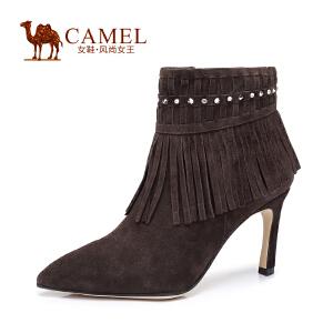 Camel/骆驼知性时尚 头层羊�S皮尖头高跟拉链女靴 优雅细跟流苏靴