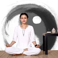 愈加大师亚麻棉居士服 女 禅修服 夏季练功服演出服装瑜伽服套装 白色 (两件套)七分袖