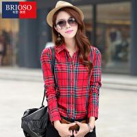 BRIOSO 2017春装新款女式纯棉长袖格子衬衫 基础百搭韩版时尚修身长袖衬衫 大码女装衬衣 WE2095