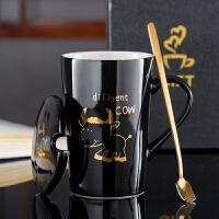 情侣马克杯个性咖啡杯礼盒套装创意生肖陶瓷杯子喝水杯带盖勺