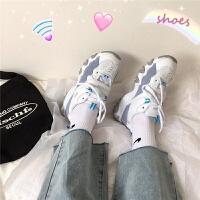 港风仙女鞋韩版ulzzang运动鞋原宿百搭学生2019秋季潮 白蓝色