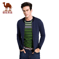 骆驼男装 秋季新款男士针织毛衣纯棉直筒开衫休闲外套