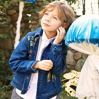 【1件4折后到手价:215.6元】马拉丁童装男童牛仔外套2019春装新款图案休闲翻领儿童牛仔外套男