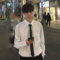 2018春秋季新款职业男士衬衫上衣韩版潮学生修身打底小清新白衬衣 白色