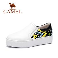 Camel/骆驼女鞋  时尚休闲女鞋水染牛皮厚底单鞋板鞋