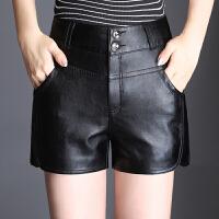 皮女秋冬2017新款PU皮裤显瘦外穿打底靴裤高腰黑色大码 黑色 M 2尺