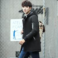 男士棉服中长款秋冬新款韩版修身连帽帅气青年休闲外套潮男装