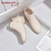 2019珂卡芙新款【耐磨】时尚简约切尔西靴保暖舒适圆头靴子女