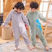 儿童连体睡衣秋冬季法兰绒宝宝睡袋哈衣珊瑚绒加厚男女孩防踢着凉