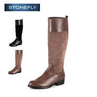 STONEFLY/斯通富来冬季牛皮休闲磨砂侧拉链平跟长靴女士高筒靴SD44113451