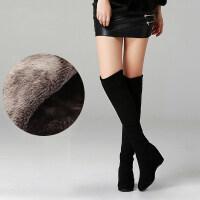 欧美秋冬长靴女弹力靴过膝靴内增高女靴子高跟单靴长筒靴女鞋