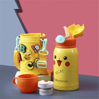 316不锈钢保温杯可爱卡通洞洞水杯儿童学生专用一杯三盖带杯套女生(送杯刷、吸管刷)