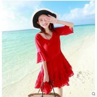 新款红色沙滩裙短度假裙子喇叭袖蜜月裙连衣裙五分袖圆领雪纺  可礼品卡支付