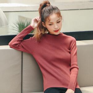 2017秋冬女装新款韩版纯色套头修身毛衣女长袖显瘦百搭打底针织衫