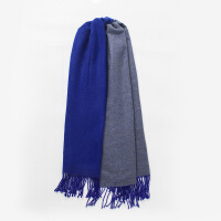 新品英伦双面羊绒围巾女士秋冬季韩版百搭粉色羊毛披肩冬天厚保暖秋季