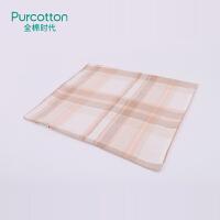 全棉时代轻磨毛四件套100%纯棉床单舒适保暖被套枕套床上用品4件 1.8m床 橙色格纹