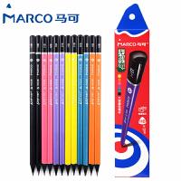 MARCO/马可 9008-12CB 高级书写铅笔12支装/HB 无铅毒黑木多彩三角笔杆小学生用作业考试练字笔套装速写