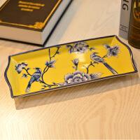 墨菲 新中式陶瓷卫浴配件 浴室卫生间装饰摆件现代创意长方形托盘