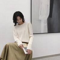纯羊绒衫女毛衣圆领宽松冬季新款大码山羊绒衫针织衫长袖短款麻花 白色