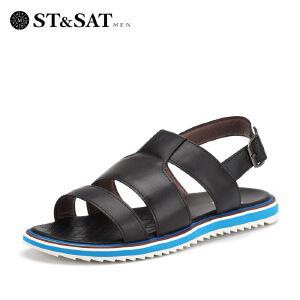 【3折到手价149.7元】星期六男鞋(ST&SAT)牛皮真皮轻便透气休闲气垫沙滩鞋凉鞋男SS62123863