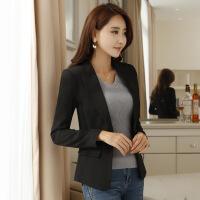 黑色小西装女短款2018春秋季韩版女士西服上衣休闲长袖西装外套女KK-003 黑色
