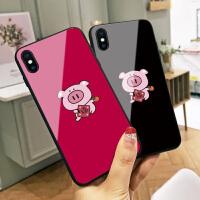 白底一个猪柿顺利苹果6s手机壳xs max猪年新款8玻璃iphone7plus可爱卡通6plus本命年8p情侣xr全包