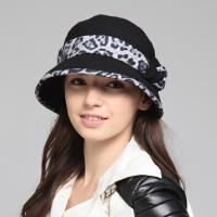 kenmont女士帽子 毛呢帽子 时尚淑女蝴蝶结豹纹2242