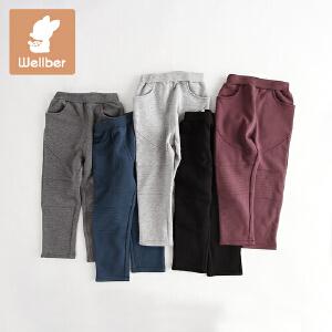 威尔贝鲁 男女儿童裤子冬季加绒长裤 宝宝休闲裤秋冬厚款1-3岁