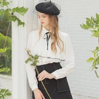 Lagogo2019秋季新款甜美系带长袖衬衫女白色学院风上衣ICCC438C14