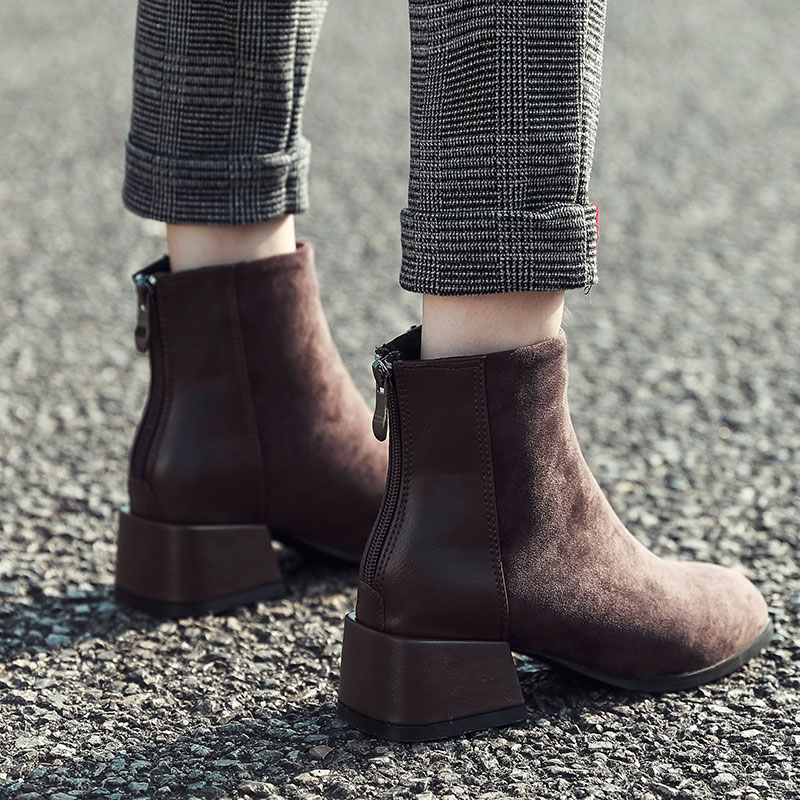 短靴女粗跟中跟方头后拉链英伦风马丁靴瘦瘦靴平底短筒裸靴女