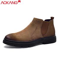 奥康切尔西靴男秋季百搭英伦风短靴中帮工装靴加绒保暖高帮靴子男