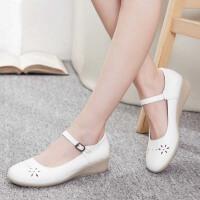 护士鞋夏季凉鞋白色坡跟牛筋底妈妈鞋女工作鞋透气单鞋