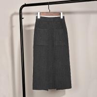 女秋2017新款加厚针织半身裙中长款毛线口袋半身裙冬裙一步包臀裙 均码