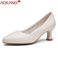 奥康女鞋尖头空姐职业舒适真皮高跟单鞋浅口工作鞋女