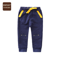 【满200-100】BINPAW童装男童秋装长裤 韩版修身新款全棉口袋拼色小脚裤运动裤