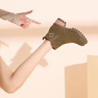 冬季【金属装饰】舒适圆头粗跟增高女款时装靴新款短筒拉链