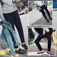 超大码女装秋冬新款韩版宽松休闲运动裤加绒加厚哈伦裤黑色长裤子 L 95-115斤