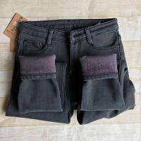 冬季新款烟灰色加绒牛仔裤女加厚高腰显瘦小脚保暖铅笔裤长裤韩版 黑色 加绒长裤
