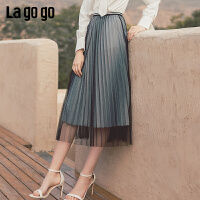 Lagogo2019秋新款高腰亮丝百褶网纱半身裙女雪纺A字织带装饰长裙