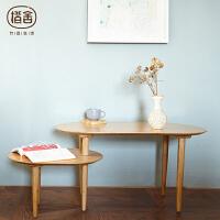当当优品 橙舍现代简约小户型原竹茶几实木多功能茶桌双层可移动茶几桌子