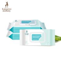 袋鼠妈妈 孕产护理湿巾60抽*3 产前产后生理期私处湿巾 天然温和护肤
