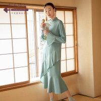 生活在左2019秋季女装新品薄荷绿不规则鱼尾裙气质中长款连衣裙子