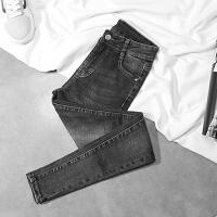 高腰牛仔裤女长裤2017秋冬季新款烟灰色小脚铅笔黑色显瘦裤子女裤