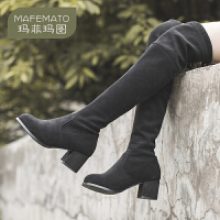 玛菲玛图2020秋冬新品女靴欧美粗跟瘦瘦靴潮流后系带过膝长靴Y3365