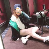 新款羽绒服欧货潮牌18冬季新款时尚女式连帽墨绿丝绒短款面包服羽绒服女潮 墨绿色