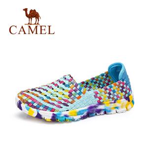 Camel/骆驼女鞋 松紧带编织轻便透气舒适彩色单鞋女鞋子