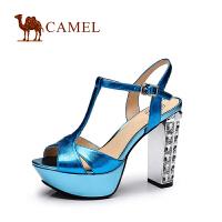 CAMEL 骆驼女鞋 夏季新品牛皮清凉鱼嘴 高跟凉鞋